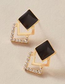 Fashion Black Multi-layered Diamond Earrings