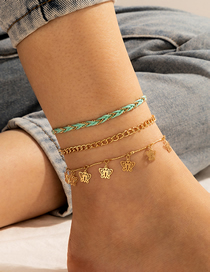 Fashion Golden 3 Piece Set Of Cord Woven Butterfly Pendant Anklet