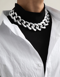 Fashion Necklace White K Tassels Generous Rhombus Thick Chain Necklace Earrings