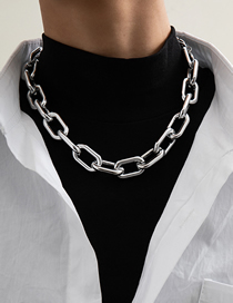 Fashion Necklace White K Single Layer Geometric Thick Chain Necklace Earrings