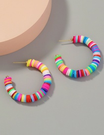 Fashion Color Mixing C-shaped Handmade Soft Clay Earrings