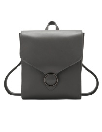 Fashion Gray Flap Solid Color Oil Trim Backpack