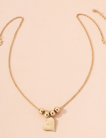 Fashion Golden Love Heart Round Bead Alloy Pendant Necklace