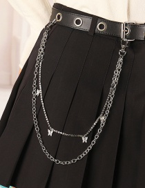 Fashion Silver Butterfly Circle Chain Double Waist Chain