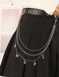 Fashion Silver Alphabet Diamond Alloy Multilayer Trouser Chain