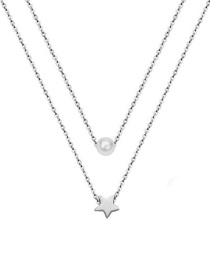 Fashion Steel Color Titanium Steel 18k Gold Plated Five-pointed Star Pearl Double Necklace