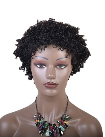 Fashion Black High Temperature Silk Chemical Fiber Hair Cover African Small Curly Wig