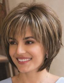 Fashion Coffee Color Chemical Fiber High Temperature Silk Short Straight Hair Wig
