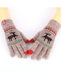 Fashion Brown Gray Single Layer Christmas Cashmere Double Deer Finger Gloves