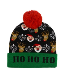Fashion Elk And Santa (live) Christmas Snowman Elk Christmas Tree Flanged Knitted Hat With Ball