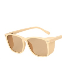 Fashion Rice White Light Tea Studded Square Sunglasses With Thick Sides