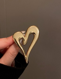 Fashion Gold Color Metal Heart Brooch