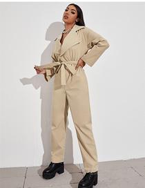Fashion Khaki Straight-leg Lace-up Long-sleeved Jumpsuit