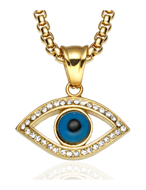 Fashion With Chain Stainless Steel Diamond Eye Necklace