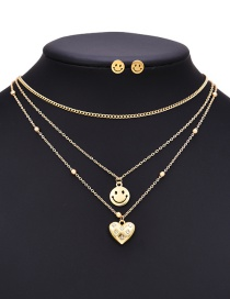 Fashion Gold Titanium Steel Inlaid Zirconium Multilayer Smiley Face Necklace And Earrings Set