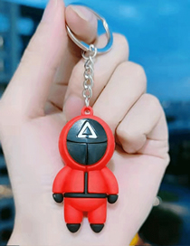 Fashion Red Triangle No Face Doll Keychain