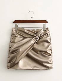 Fashion Champagne Pleated Faux Leather Skirt