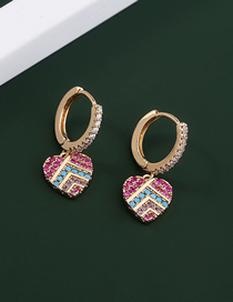 Fashion Gold Color Stainless Steel Inlaid Color Zirconium Love Ear Ring
