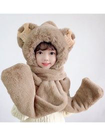Fashion Khaki Plush Hat Scarf Gloves All-in-one Suit With Ears