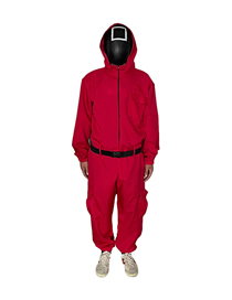 Fashion Red Halloween Hooded Jumpsuit Trousers