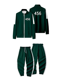 Fashion 456 Suit Dark Green Geometric Color-blocking Letters Zipper Jacket And Trousers Suit