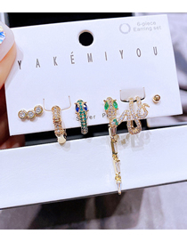 Fashion Gold Color Copper Inlaid Zirconium Snake-shaped Earrings Set