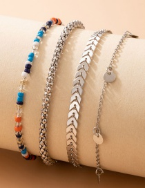 Fashion Silver Color Alloy Aircraft Chain Round Bead Bracelet Set