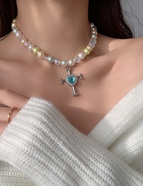 Fashion Color Mixing Pearl Cross Love Gemstone Necklace