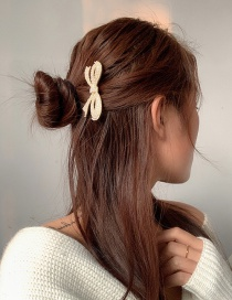 Fashion Golden U-shaped Hairpin With Pearl Bow