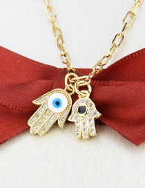 Fashion Gilded Gold-plated Zircon Eye Palm Pendant Necklace