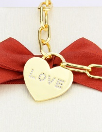 Fashion Gilded Gold-plated Glossy Love Heart Pendant Necklace With Diamonds
