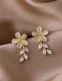 Fashion Golden Flower Opal Gold-plated Copper And Diamond Earrings