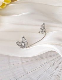 Fashion Silver Full Diamond Three-dimensional Butterfly Single Ear Bone Clip