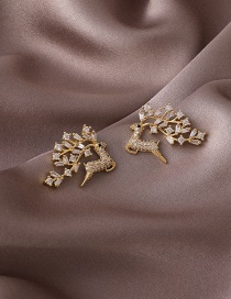Fashion Fawn Fawn Micro-inlaid Zircon Copper And Gold-plated Earrings