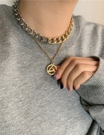 Fashion Golden Thick Chain Geometric Hollow Double Layered Titanium Steel Necklace