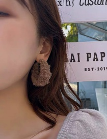 Fashion Brown Plush Geometric Hollow Earrings