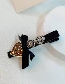 Fashion Black Velvet Cloth Bow Love Geometric Hairpin