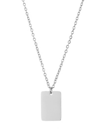 Fashion Steel Color 18*12mm Square Glossy Pendant Stainless Steel Necklace