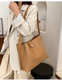 Fashion Khaki Lock Solid Color Crossbody Shoulder Bag