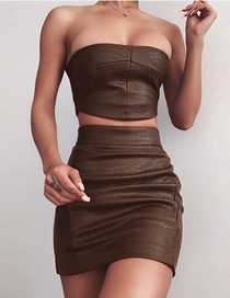 Fashion Brown One Word Shoulder Wrap Chest Slim Fit Hip Skirt Suit