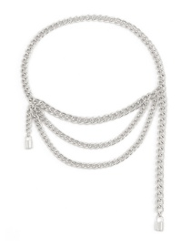 Fashion White K Aluminum Chain Lock-shaped Alloy Multilayer Waist Chain