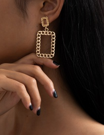 Fashion Golden Hollow Alloy Square Chain Earrings