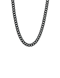 Fashion Black 3mm60cm Stainless Steel Milled Six-sided Cuban Chain Thick Chain Necklace