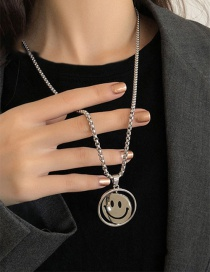 Fashion Rotating Smiley Necklace Rotating Smiley Face Double-sided Expression Stainless Steel Necklace