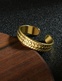 Fashion Golden Textured 14k Gold Plated Titanium Steel Open Ring