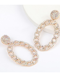 Fashion Ab Color Chain Type Oval Alloy Diamond Earrings