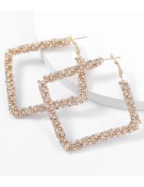 Fashion Gold Color Square Alloy Diamond Earrings