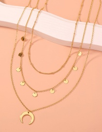 Fashion Gold Color Small Round Piece Tassel Moon Alloy Multilayer Necklace