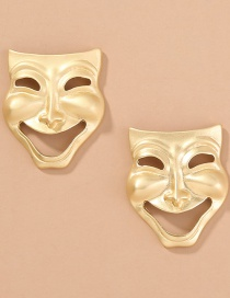 Fashion Gold Color Abstract Clown Smiley Mask Metal Cutout Earrings