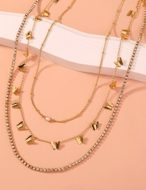 Fashion Gold Color Butterfly Tassel Catch Chain Alloy Multilayer Necklace